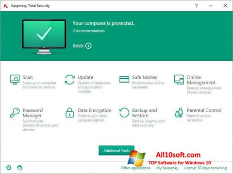 Скріншот Kaspersky Total Security для Windows 10