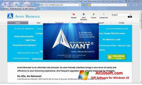 Скріншот Avant Browser для Windows 10