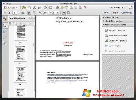 Скріншот Adobe Acrobat для Windows 10